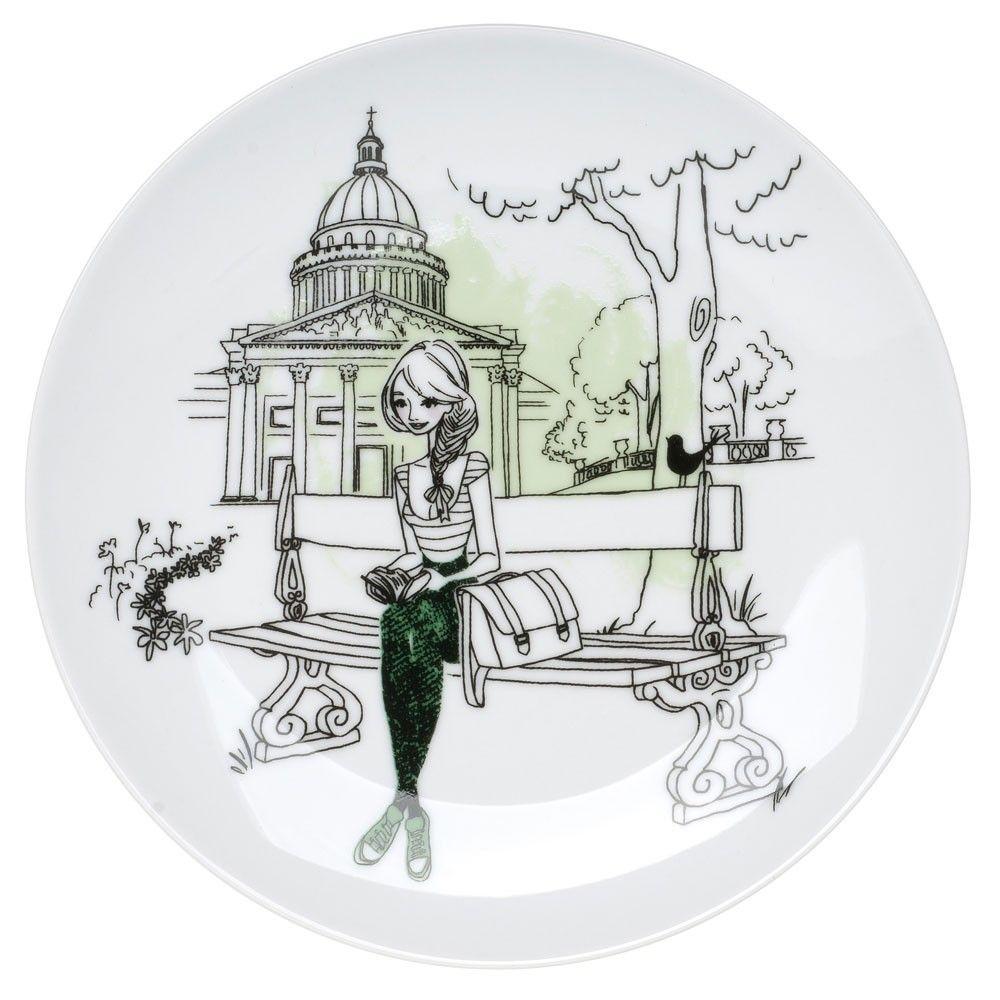 6 assiettes dessert en porcelaine parisienne la chaise longue porcelaine personnages. Black Bedroom Furniture Sets. Home Design Ideas