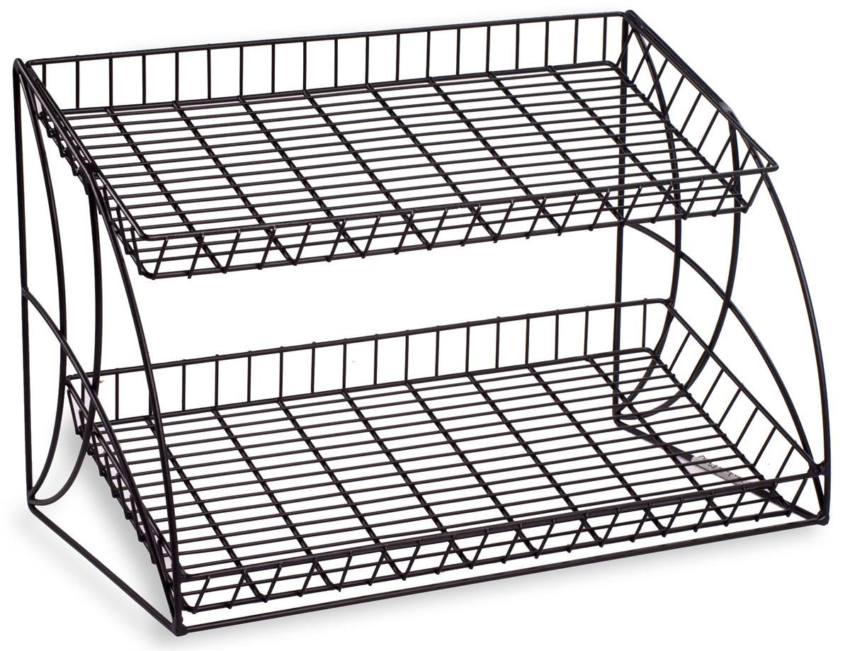 2 Tiered Wire Rack Display Tabletop 25 W Open Shelves Black