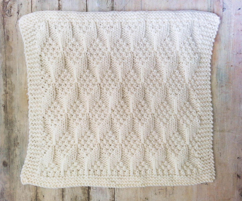 Baby Blanket, Hand-Knit Modern Baby Blanket, Chunky Knit Blanket ...
