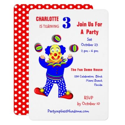 Circus Clowns Fun Kids Birthday Party Editable Card