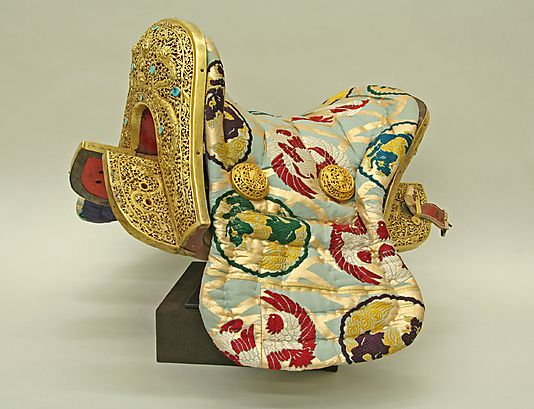Saddle, stirrups, and tack  Date: 1942–46 Culture: Tibetan Medium: Copper alloy, iron, gold, turquoise, wood, leather, and textile