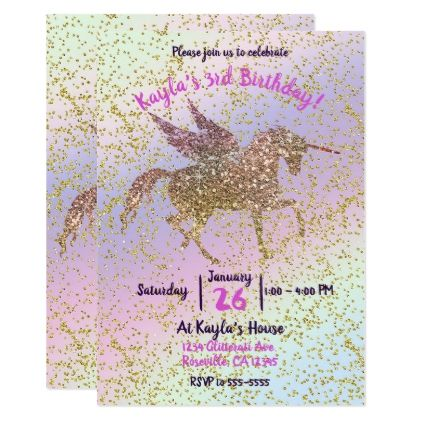 Rainbow pastel gold glitter unicorn birthday party card wedding rainbow pastel gold glitter unicorn birthday party card wedding invitations cards custom invitation card design stopboris Gallery