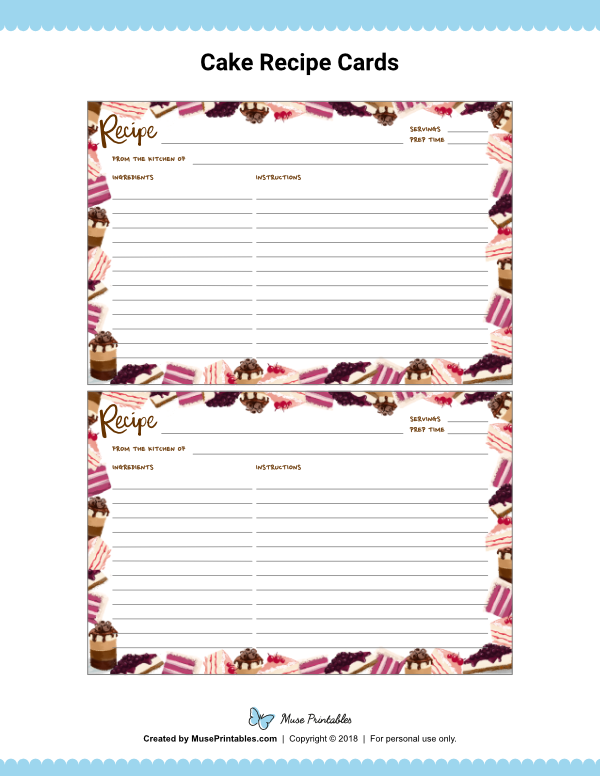 Free Printable Cake Recipe Cards The Cards Are Editable With Adobe Reader Download T Printable Recipe Cards Recipe Cards Template Recipe Cards Printable Free