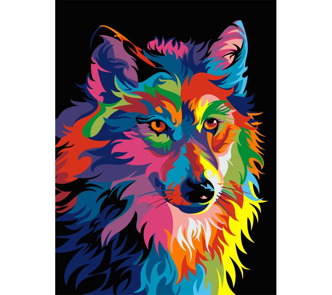 """Раскраска по номерам Артвентура """"Радужный волк Ваю Ромдони ..."""