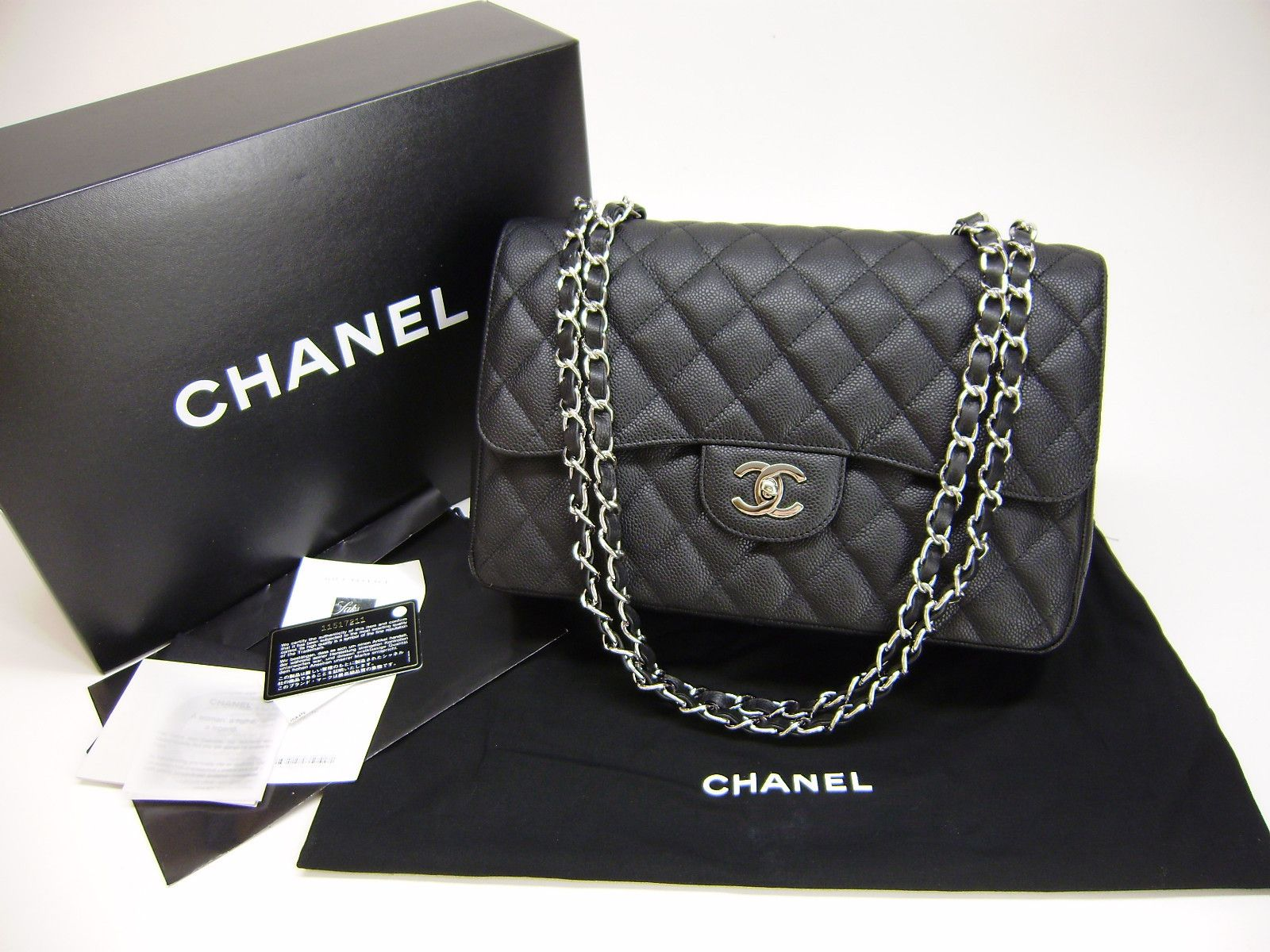 chanel matte caviar jumbo 2.55 single flap silver chain bag:::
