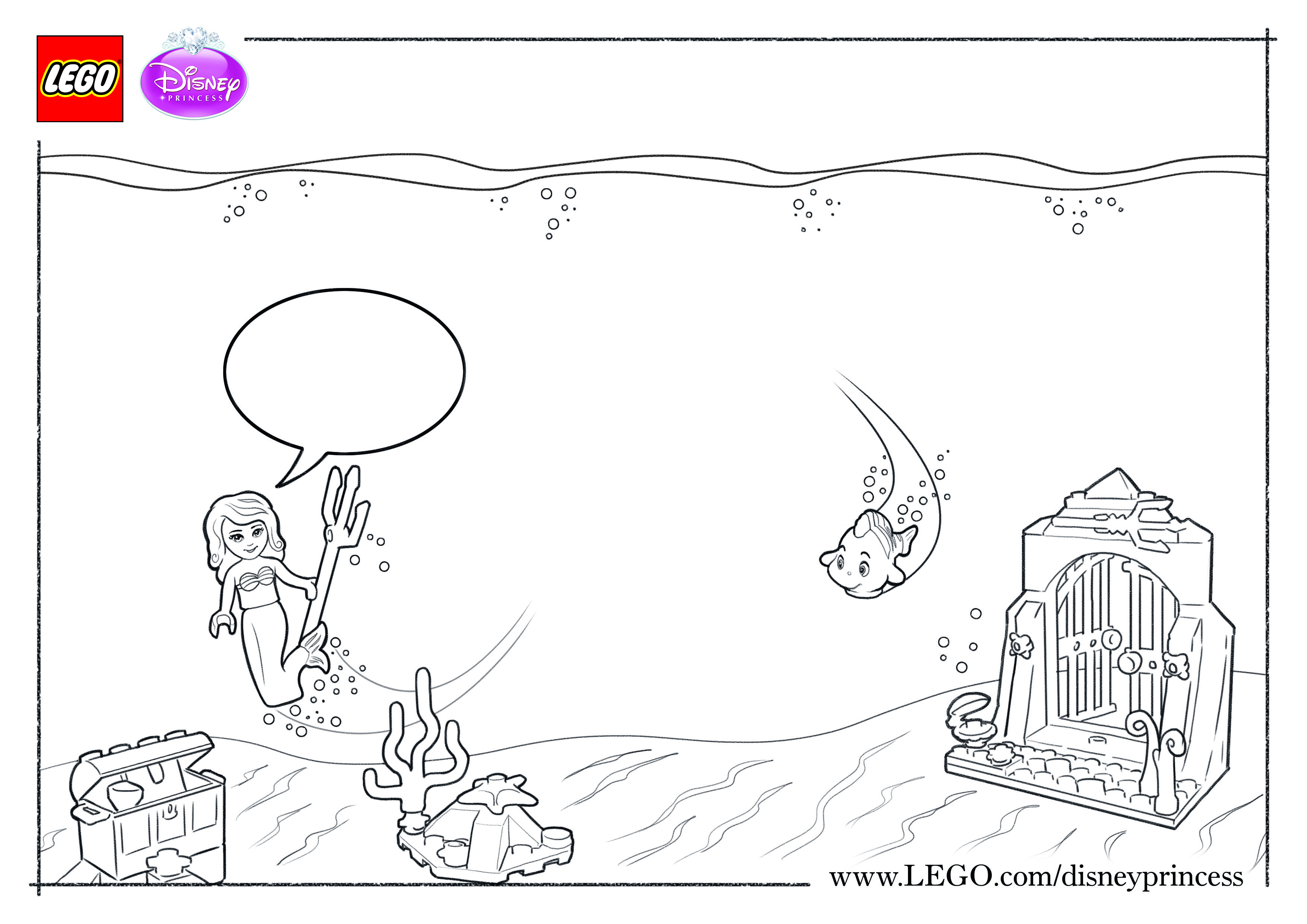 Color And Fill In This Scene Of Ariel S Beautiful Underwater Grotto Lego Disneyprincess Ariel Littlemermaid Color Colour Colorsheet Flounder Disney