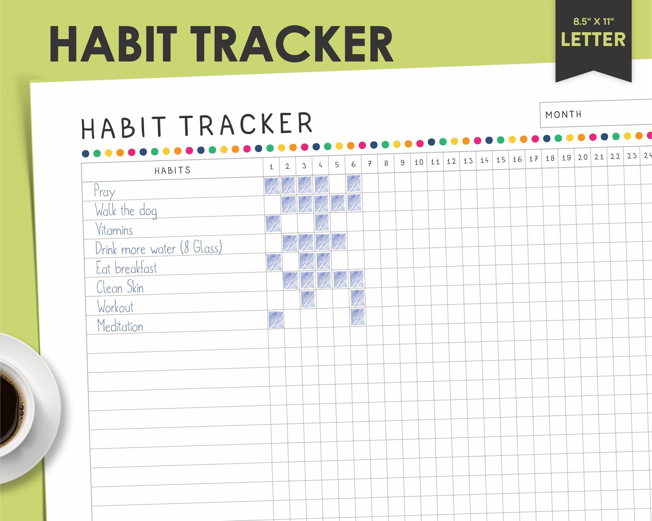 habit tracker goal tracker 30 day challenge healthy habits habit