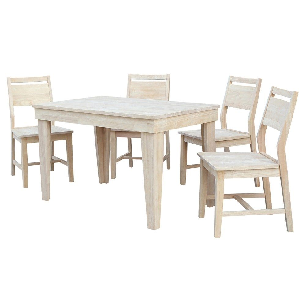 International Concepts Unfinished Dining Table Chair 5 Piece Set