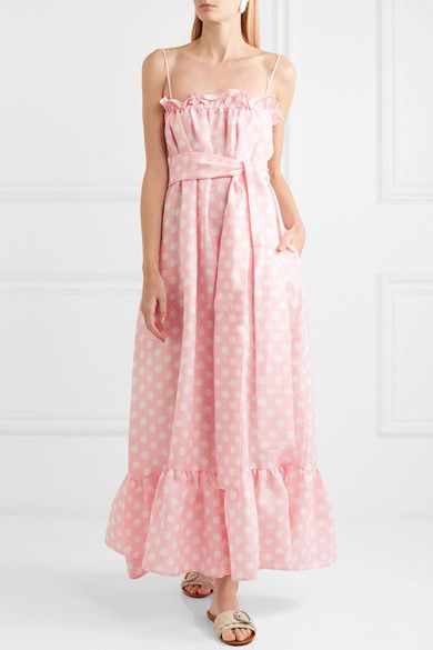 Liz Polka-dot Linen Maxi Dress - Baby pink Lisa Marie Fernandez XzHFDN