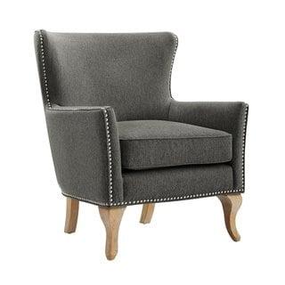 Avenue Greene Terri Accent Chair Blue Solid Fabric