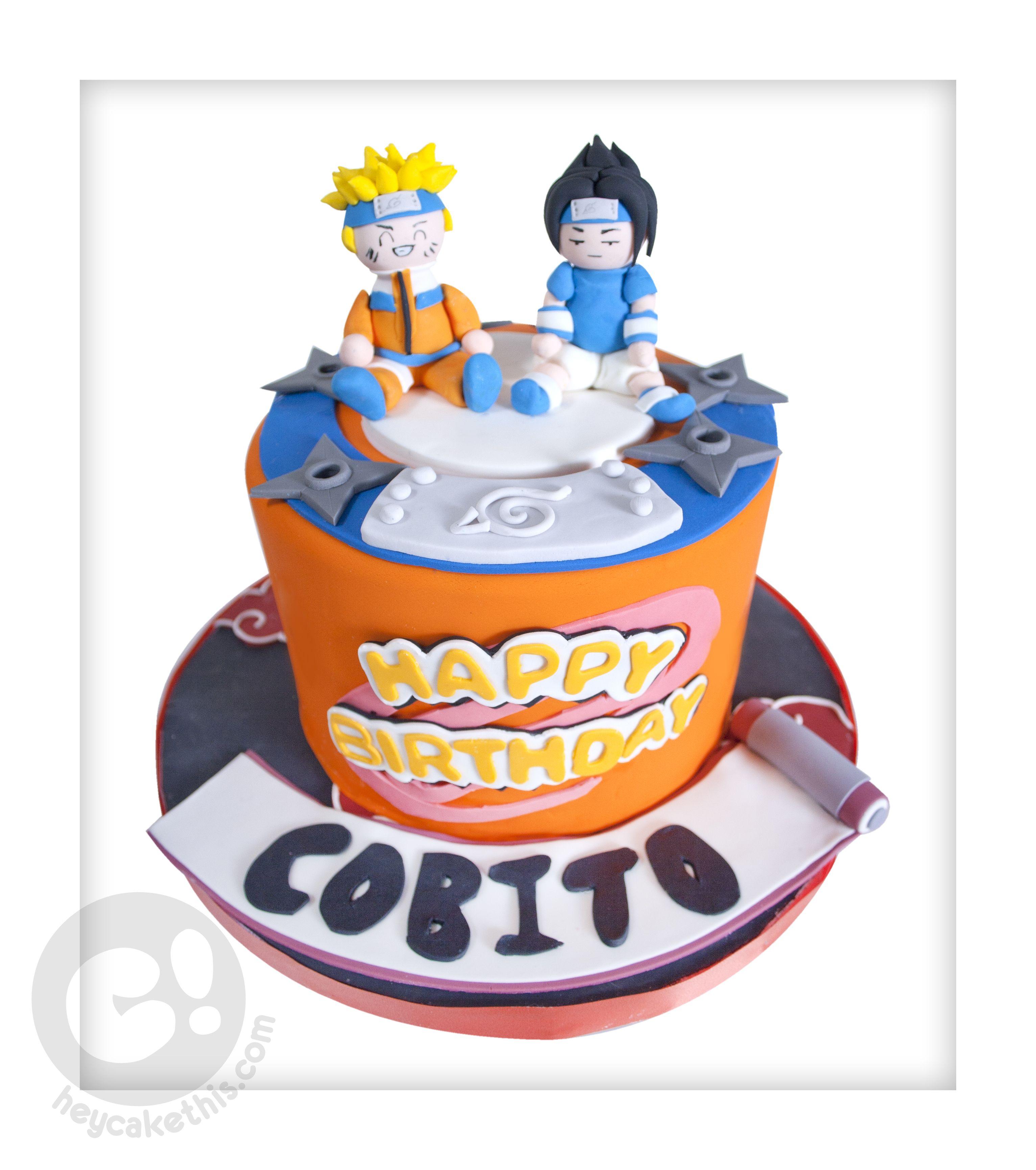 Stupendous Naruto And Sasuke Themed Cake With Images Cake Themed Cakes Personalised Birthday Cards Akebfashionlily Jamesorg