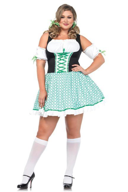 Full Figure Plus Size Clover Cutie St. Patricks Day Dress Costume