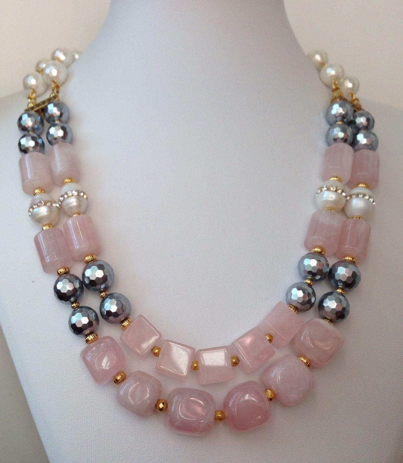 Rose Quartz & Shell Pearls Necklace