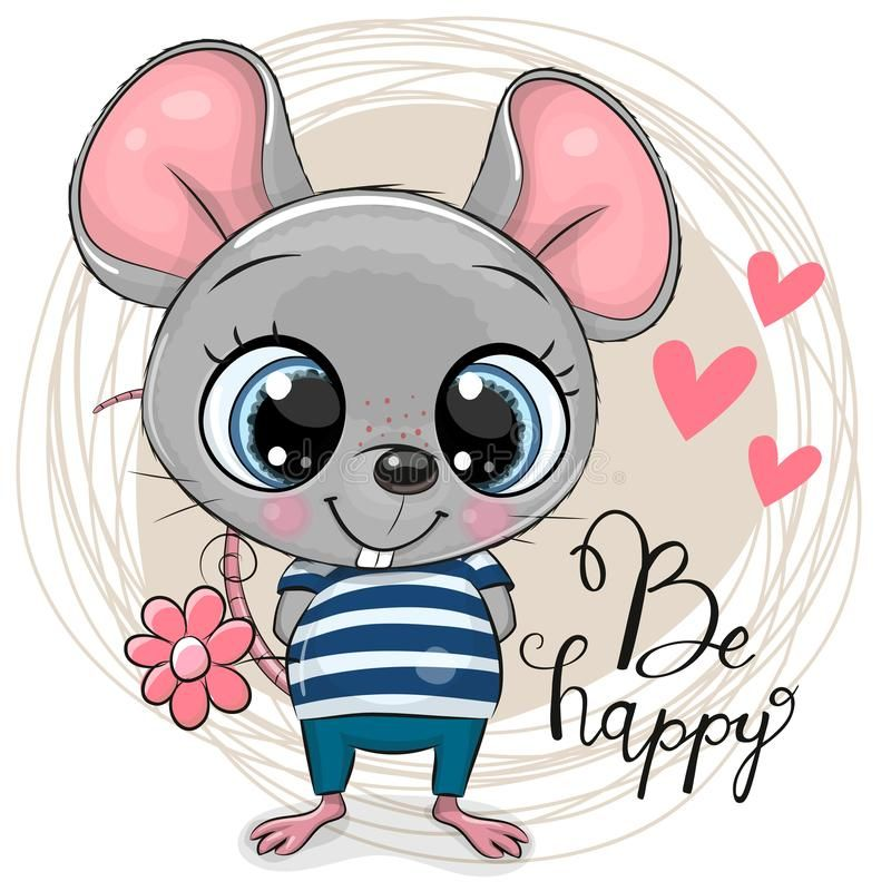 Cute Cartoon Mouse With Flowers Greeting Card Cute Cartoon Mouse