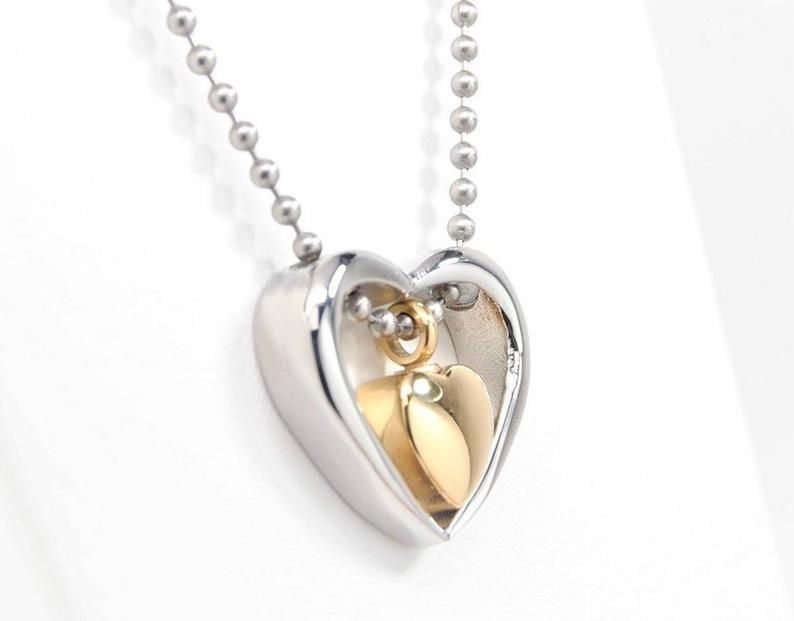 Sympathy Gift Rose Always Heart Cremation Urn Necklace Jewelry for Ashes