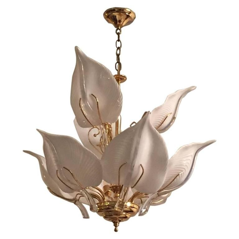 Italian Mid Century Murano Glass Calla Lilies Chandelier By Franco Luce For  Sale