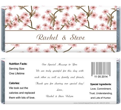 Candy Bar Covers Free Printables Wedding Cherry Blossom 155 oz - candy bar wrapper template