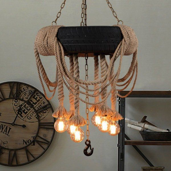 coastal decor ideas creative edison bulb chandelier rope chains