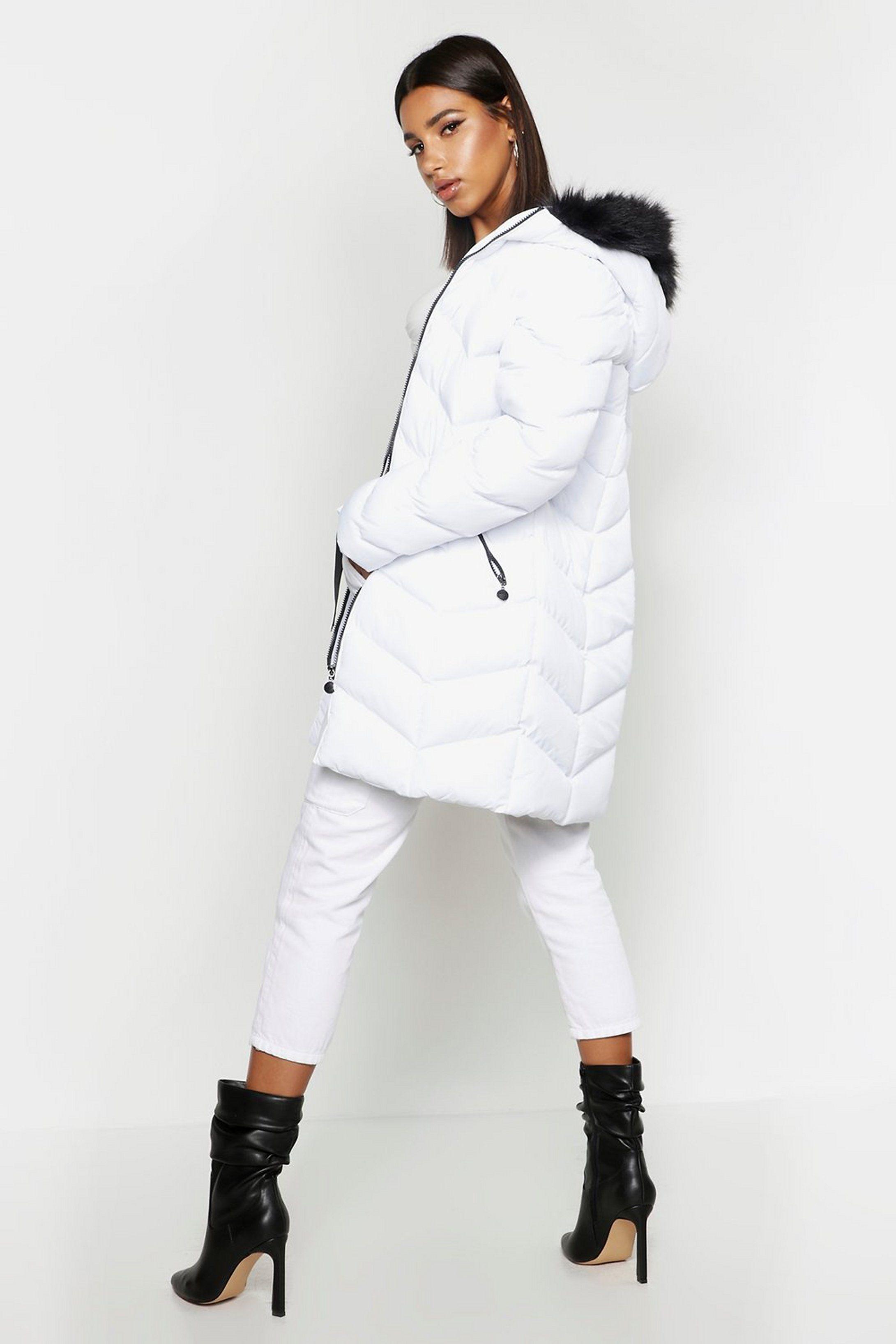Women S Faux Fur Hooded Panelled Parka Boohoo Uk Womens White Winter Coat Michael Kors Puffer Coat Pink Puffer Jacket [ 3272 x 2181 Pixel ]