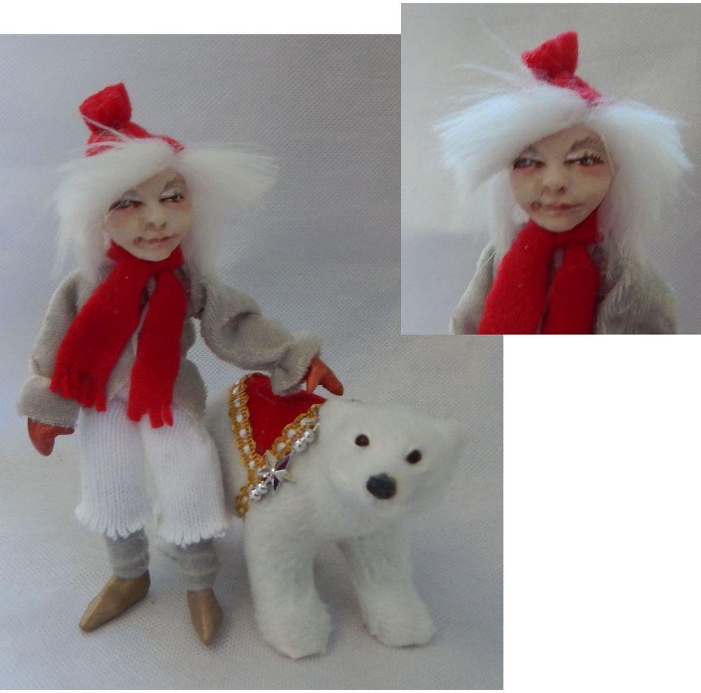 Cedar Elf With Polar Bear Ooak Fairy Fairies Sculpture Art