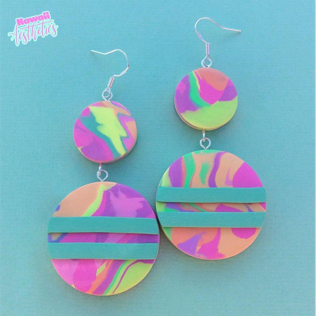 Dangle Earrings Polymer Clay Earrings Clay Earrings Handmade Textured Magenta Dangle