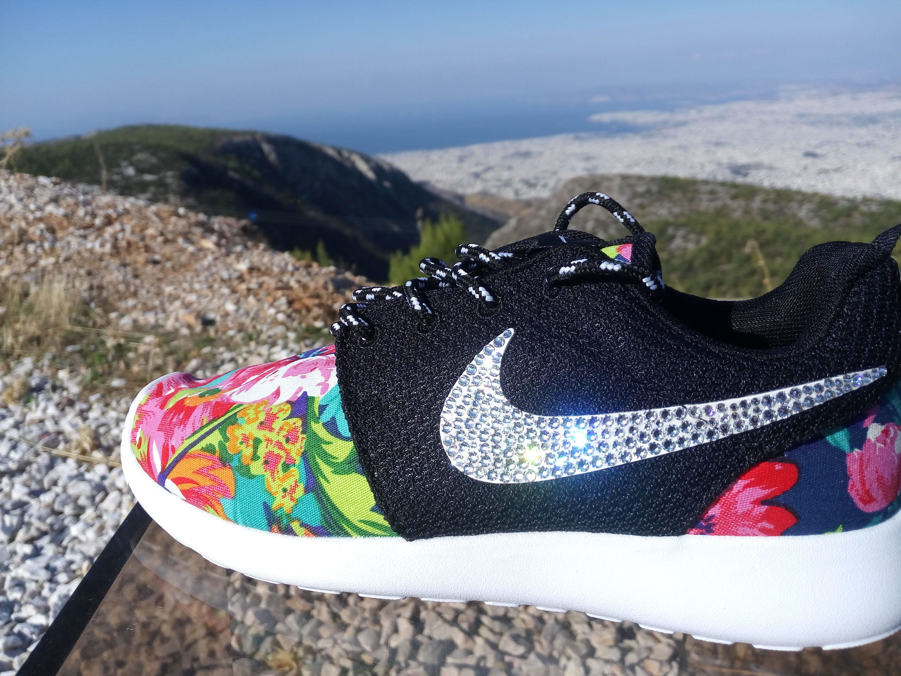 custom womens nike roshe run floral athletic shoes dark blue color  customized with fabric floral blinged
