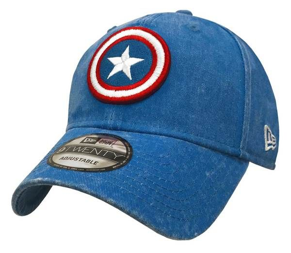 67321e1a373 New Era Marvel Mens Rugged Wash 920 Captain America Cap Hat Royal Red  80469931