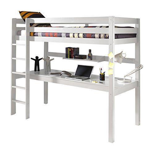 vipack picoolbuhp14 pino lit mezzanine avec grand bureau tablette pin massif mdf blanc vipack. Black Bedroom Furniture Sets. Home Design Ideas