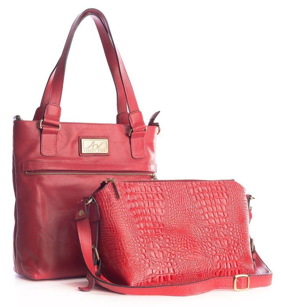 9772fb81c Bolsa duas em uma de couro Andrea Vinci vermelha - Enluaze - Bolsas,  mochilas, roupas e acessórios