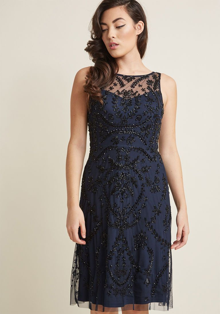 Adrianna Papell Beaded A Line Dress In 12 Products Dresses Navy Cocktail Dress Luxury Dress