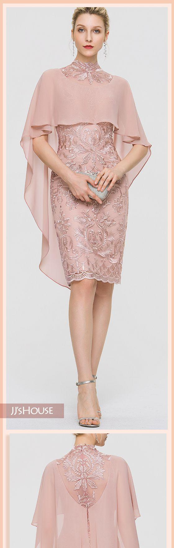 JJsHouse Sheath/Column High Neck Knee-Length Lace Cocktail Dress #cocktaildress