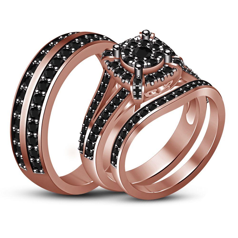 14k Rose Gold Finish 1 75ct Black Diamond His Her Trio Wedding Band Ring Set Mens Wedding Rings Gold Wedding Rings Rose Gold Gold Wedding Band Sets