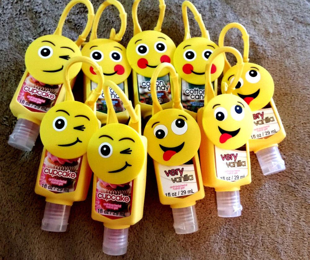 Emoji Reusable Silicone Slip Cover Plus 1oz Hand Sanitizer Gel Lot