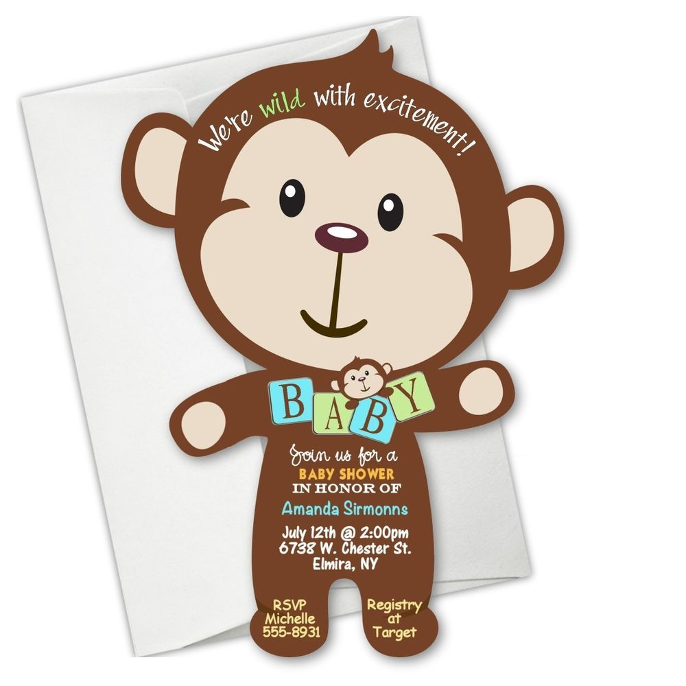 Monkey baby shower invitations jungle birthday invitation boy girl invitation monkey baby - Baby shower monkey pictures ...