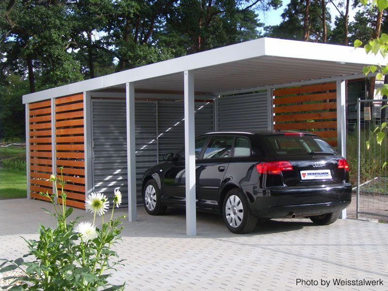 Detached garage/cover with both wood and metal beams