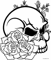 totenkopf mit rosen zum ausmalen - malvorlagen