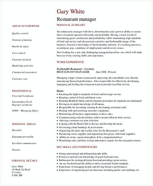 Restaurant General Manager Resume   Hotel And Restaurant