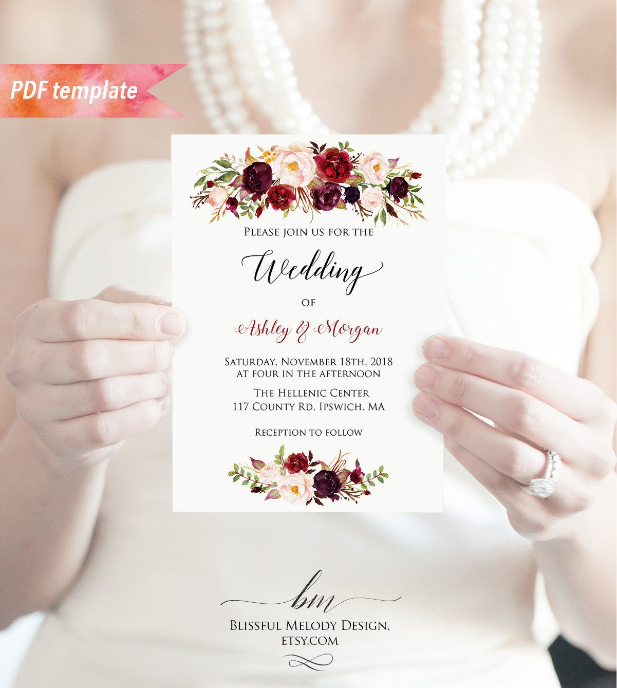 Pin by Caitlin Clark on Wedding Invites Etc Floral
