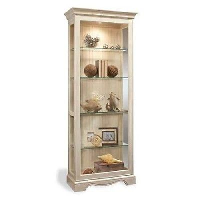 Antique White Curio Cabinet Lighted Display Case Glass Shelves Coastal  Cottage - Antique White Curio Cabinet Lighted Display Case Glass Shelves