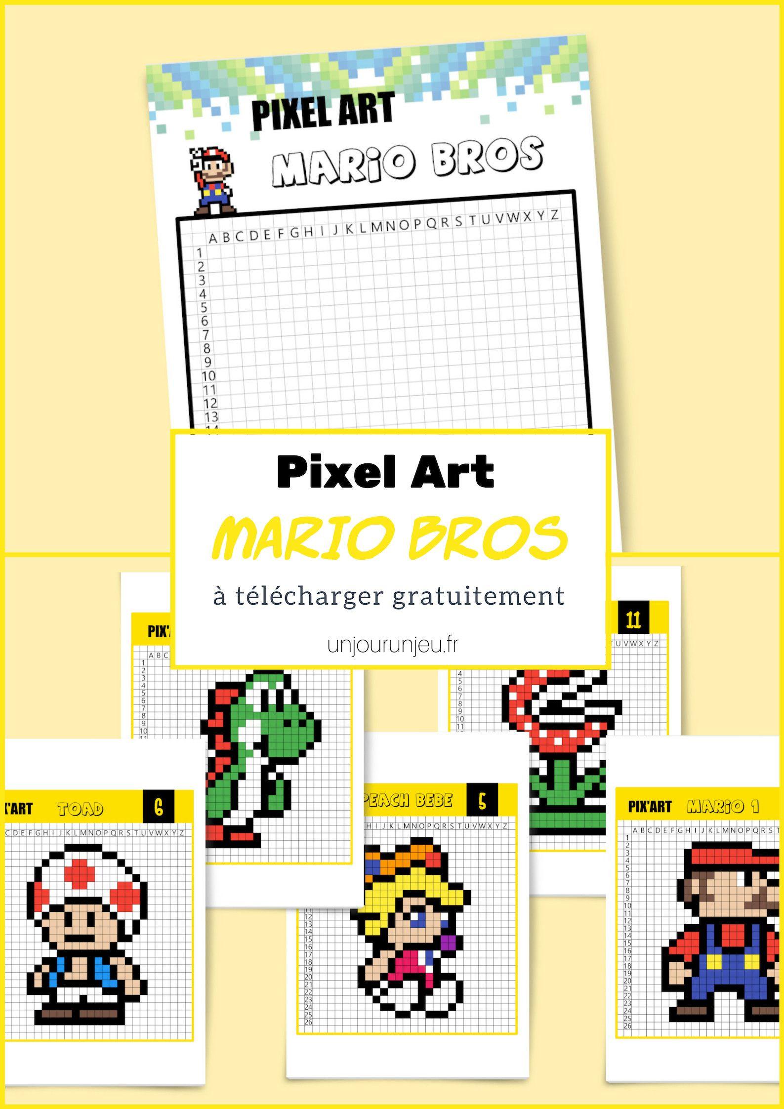 Le Célèbre Mario Bros En Pixel Art Pixel Art Dessin Pixel