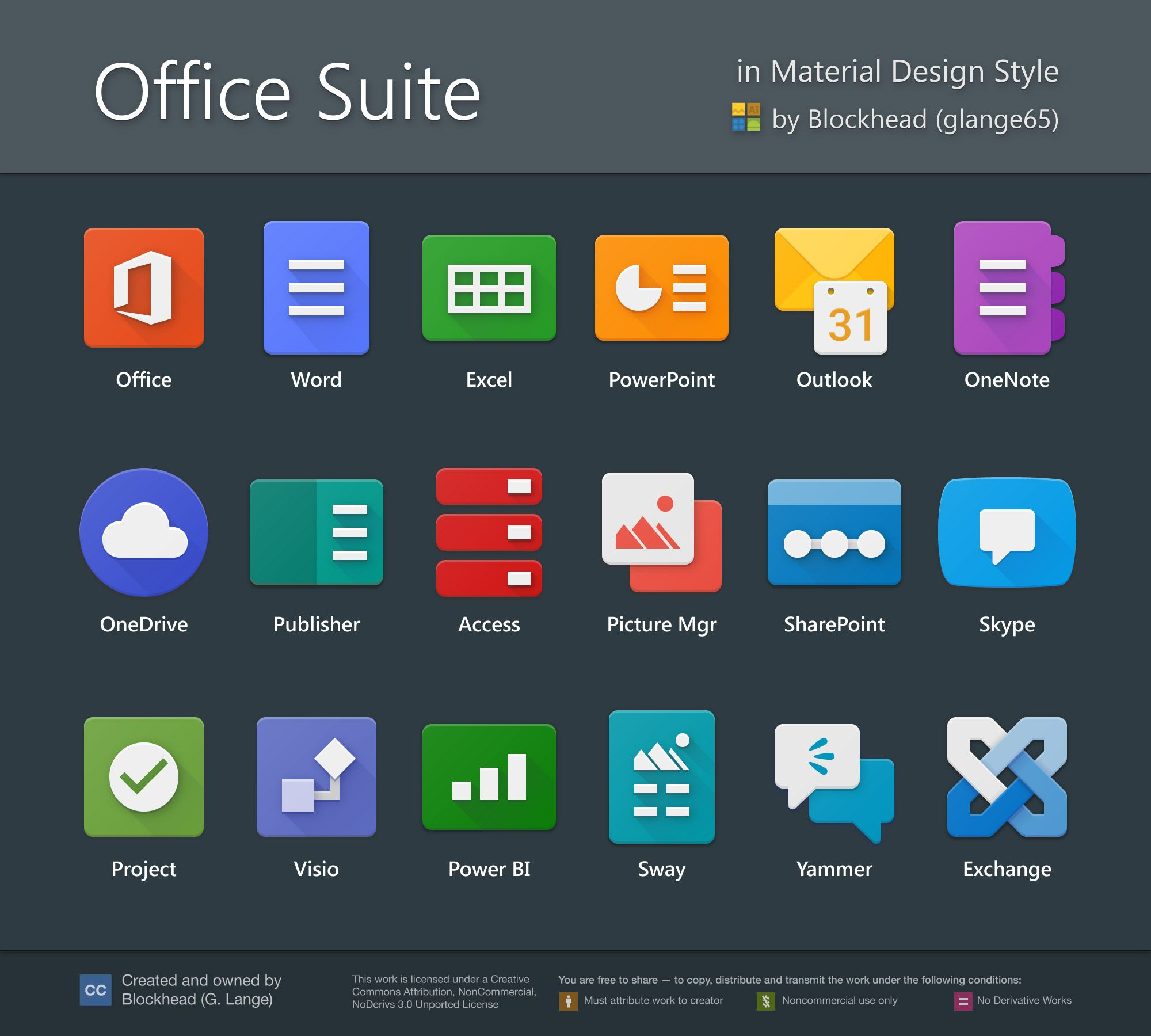 Office Suite In Material Design By Glange65 Material Design Office Suite App Icon Design