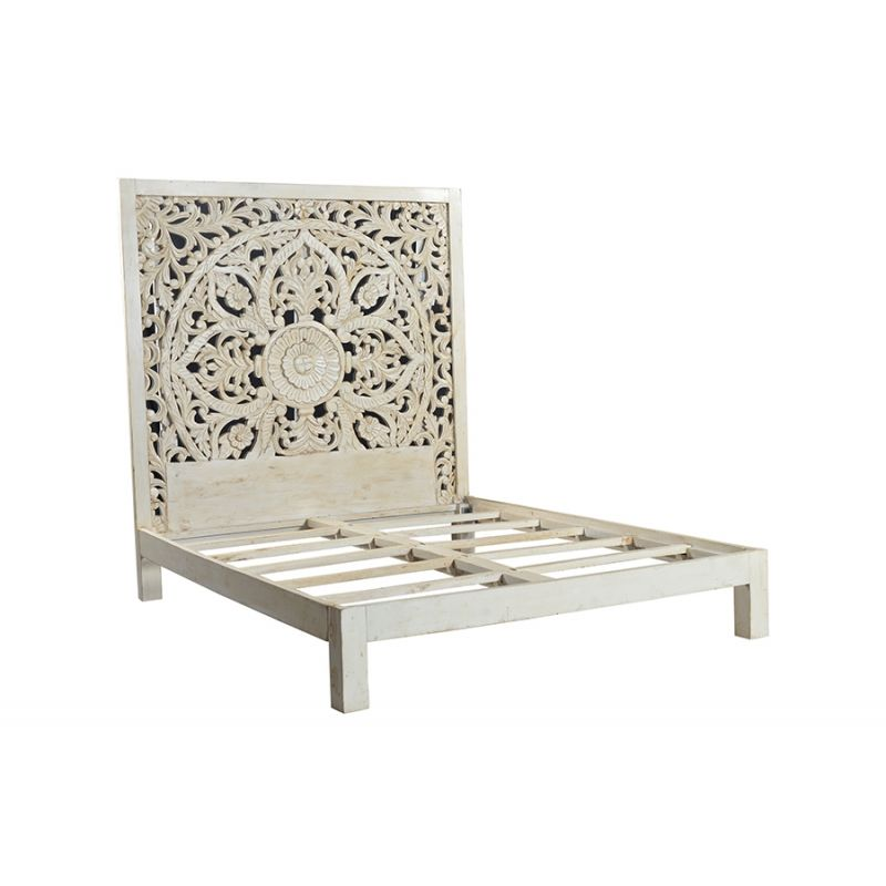 Bali Sb Cbd Queen Bed White Carved Headboard Bed Decor Carved Beds