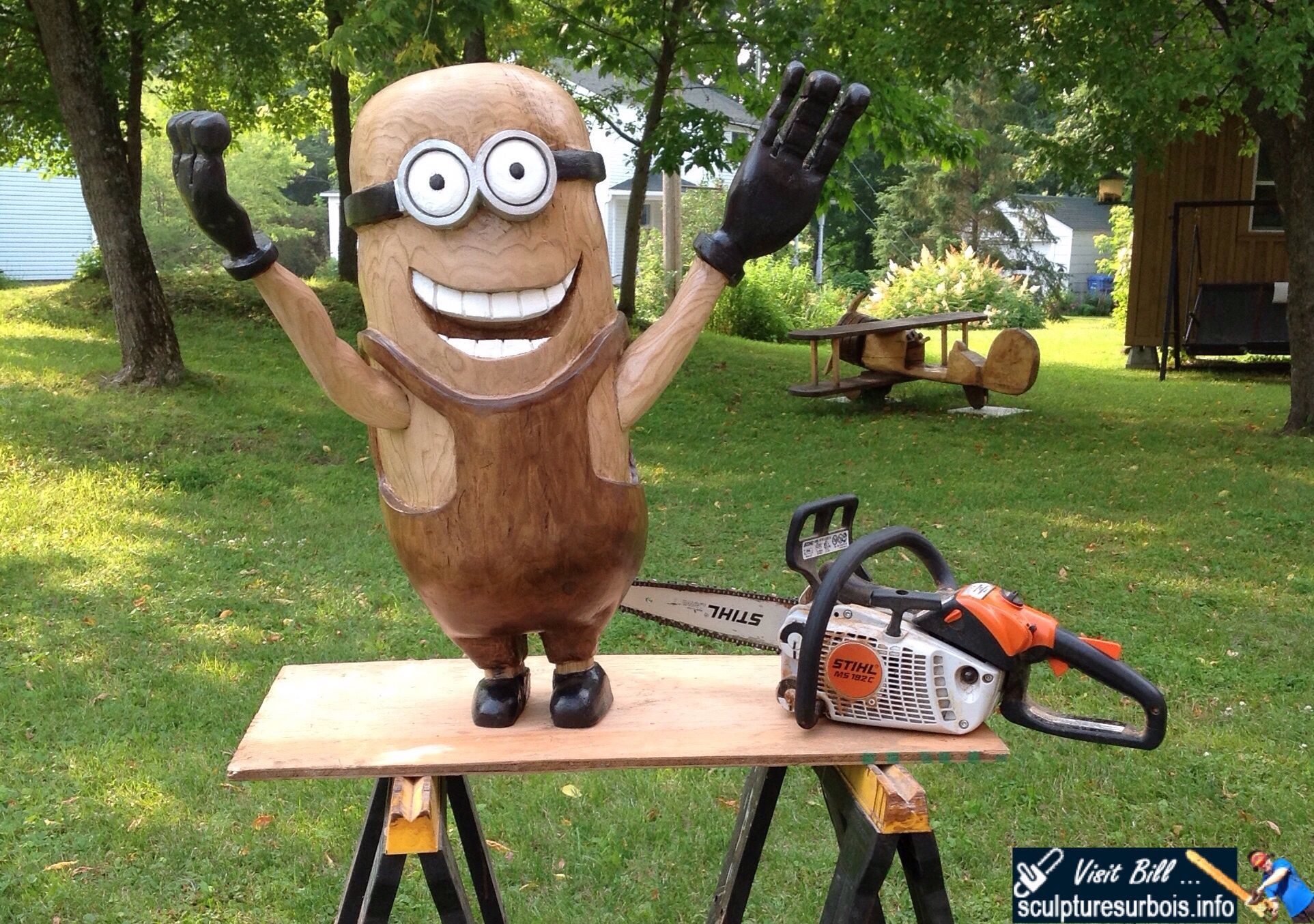 Wood carvings minion year of clean water