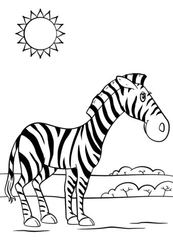 Cartoon Zebra Coloring Page