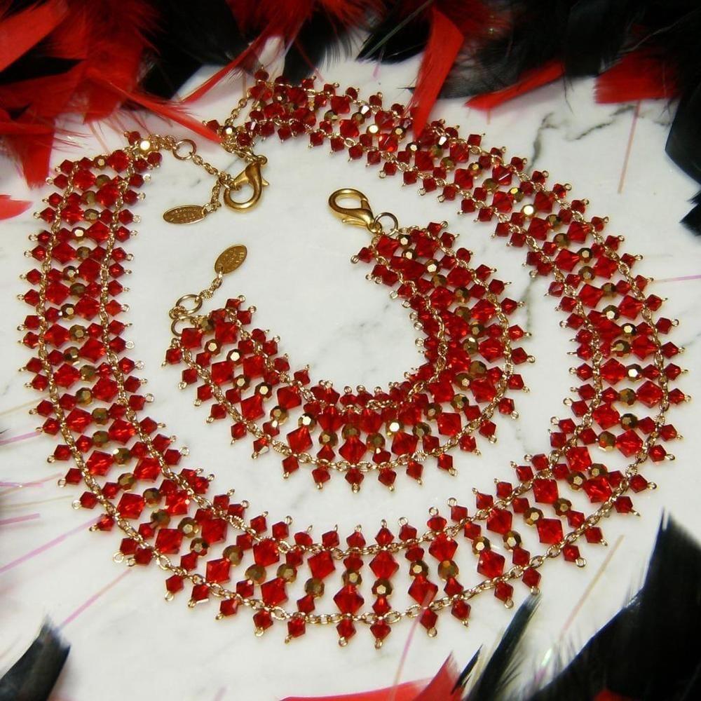 570alzerinastunning swarovski crystal redgold statement necklace