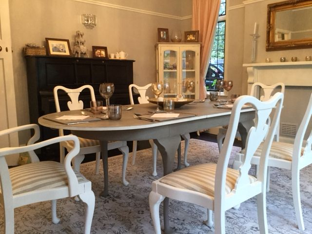 Really Enjoyed Completing My Most Recent Project A Beautiful Queen Anne Style Dining Table And Dining Room Makeover Cottage Living Rooms Painted Dining Table