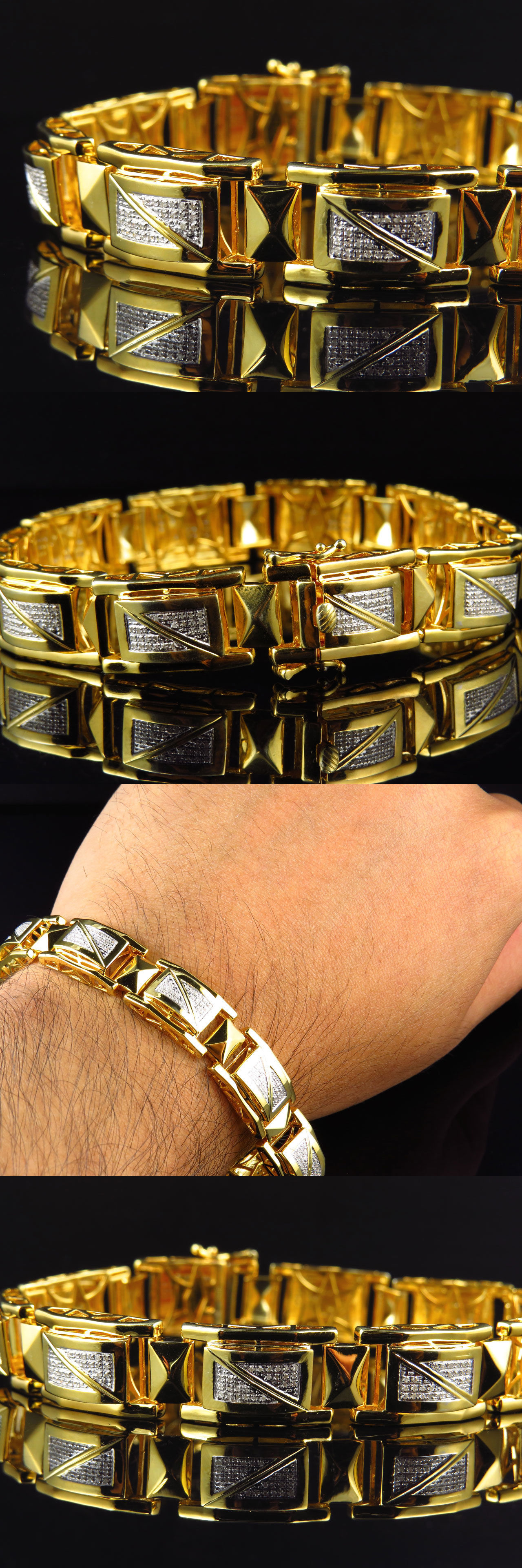 Bracelets 137835: Mens 12Mm Genuine Real Diamond Bracelet In Yellow Gold Finish 1.2 Ct BUY IT NOW ONLY: $378.99