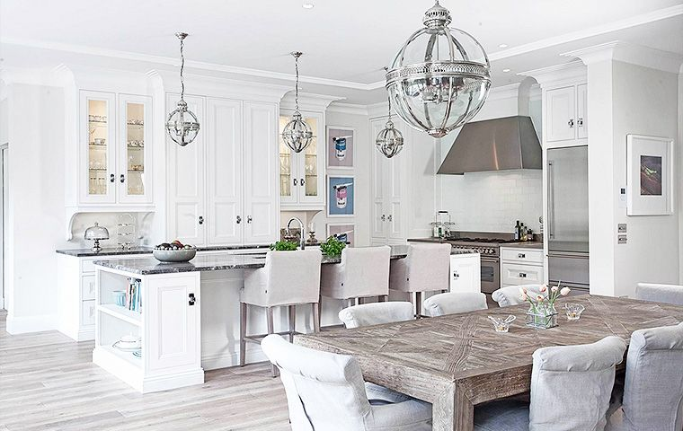 Open Kitchen And Eating Nook Casual Dining Area White