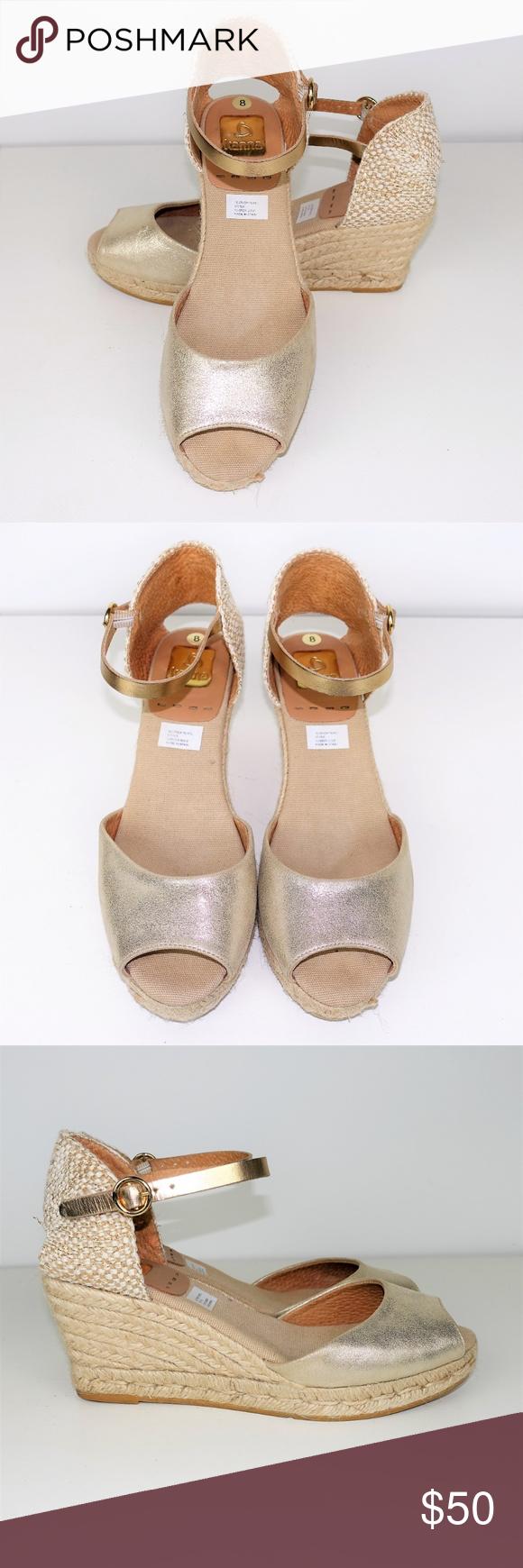 4c023fcec34 Kanna Evita Wedge Espadrille Sandals Leather Kanna Evita Wedge Espadrille  Sandals Leather Buckle Ankle Strap Gold