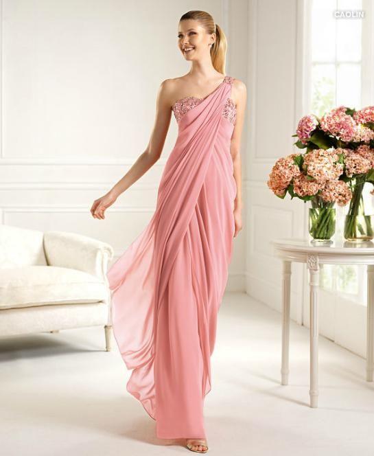 Vestidos largos de noche color palo de rosa
